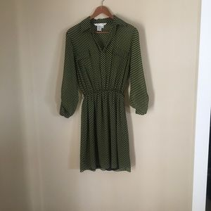 Max studio long sleeve blouse dress green & black